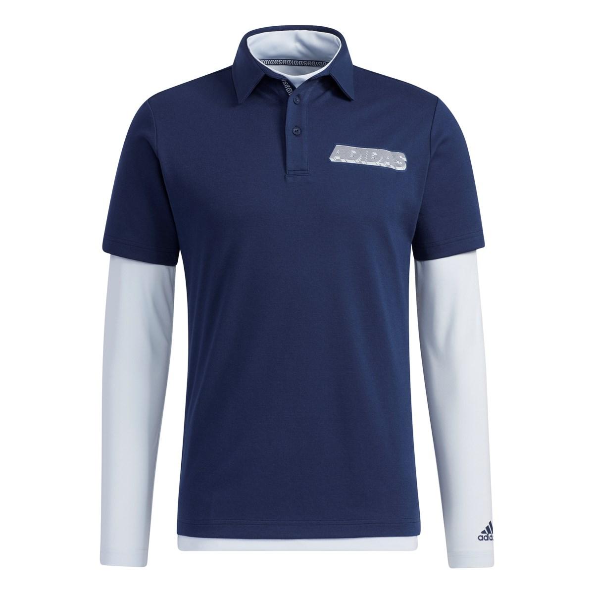 アディダス Adidas チェストロゴ レイヤード半袖ポロシャツ J/O カレッジネイビー/ヘイローブルー