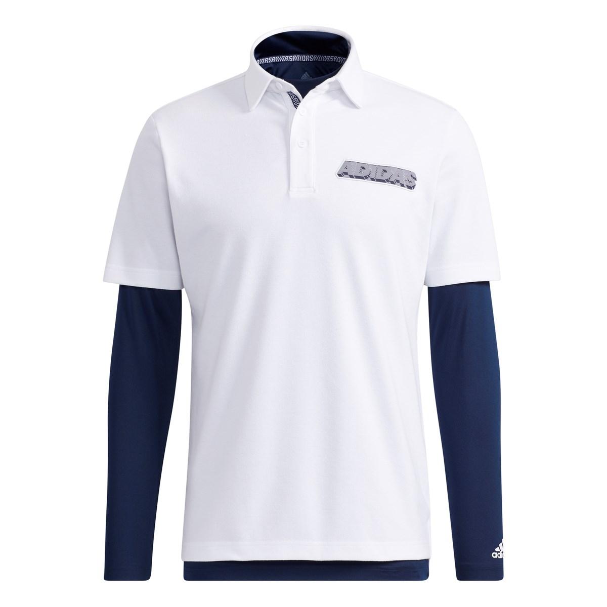 アディダス Adidas チェストロゴ レイヤード半袖ポロシャツ J/S ホワイト/カレッジネイビー