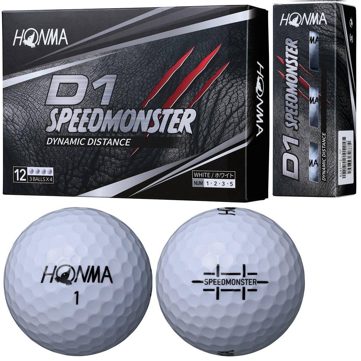 本間ゴルフ HONMA D1 スピードモンスター ボール 1ダース(12個入り) ホワイト