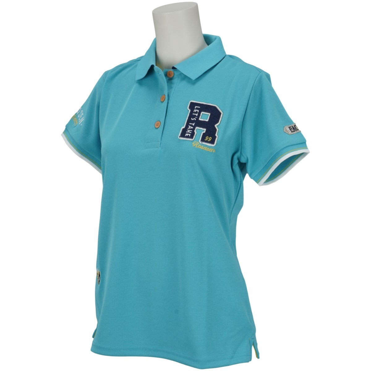 ロサーセン ROSASEN 鹿の子ロゴ盛り半袖ポロシャツ 40(M) サックス 094 レディス