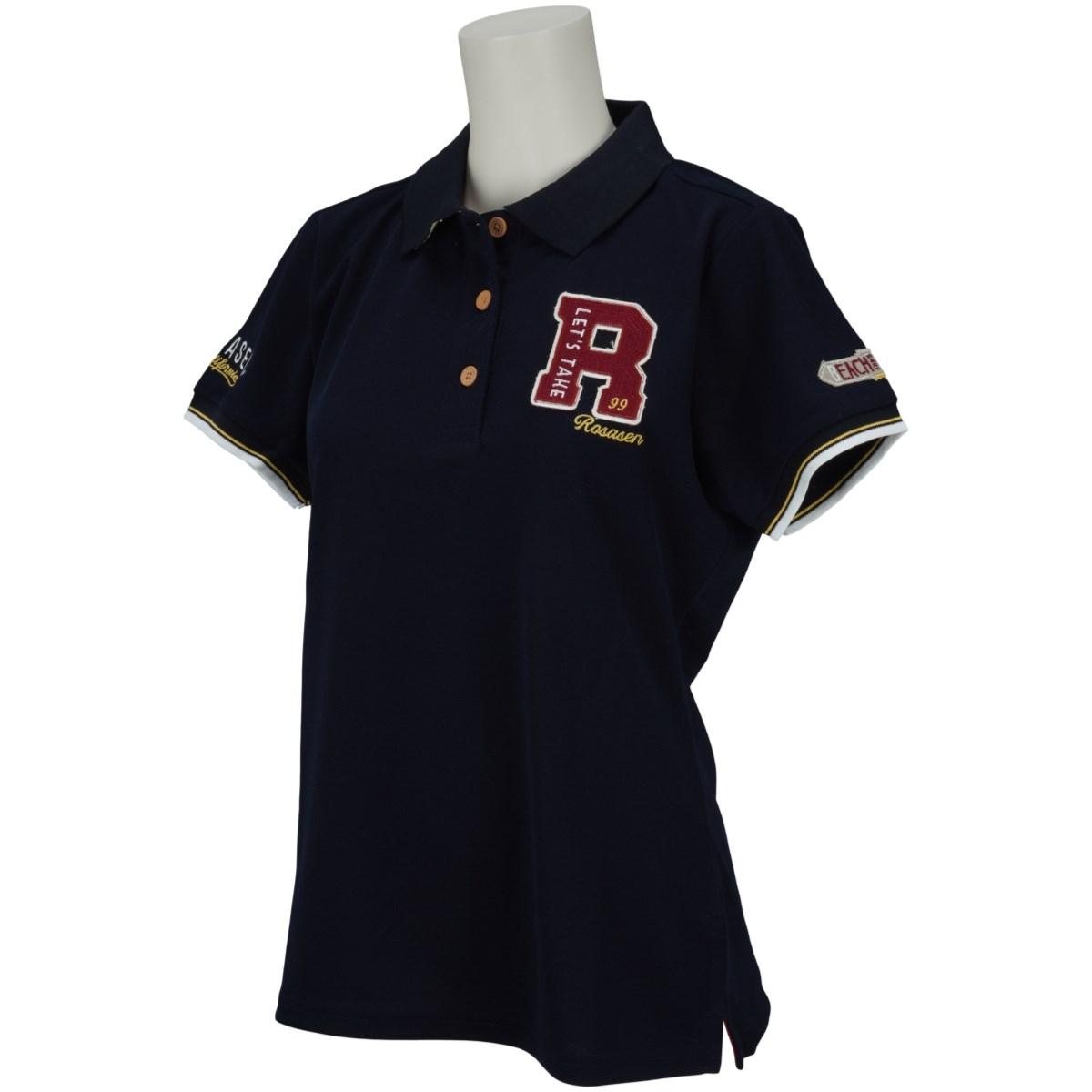 ロサーセン ROSASEN 鹿の子ロゴ盛り半袖ポロシャツ 40(M) ネイビー 098 レディス