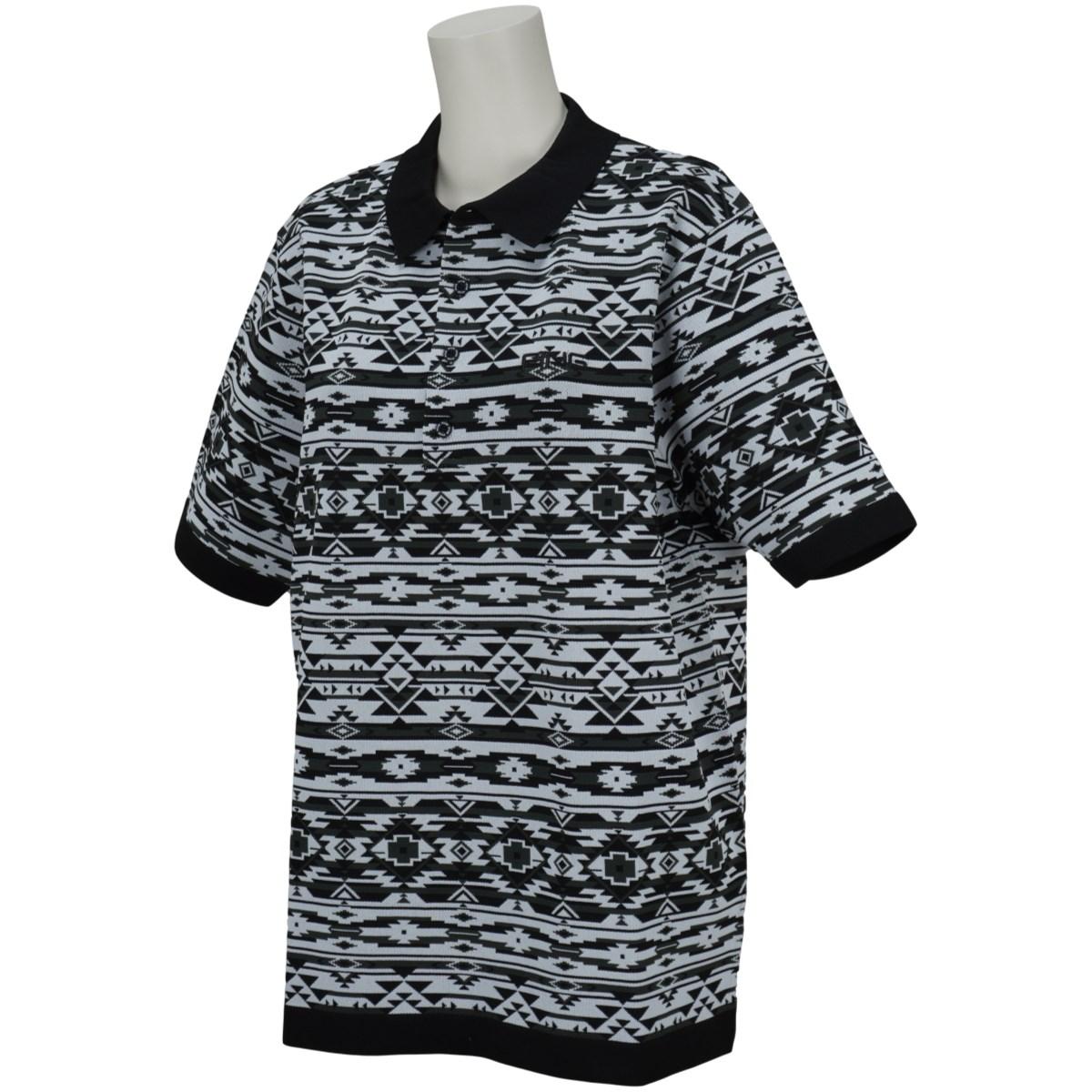 ピン PING 半袖ニットネイティブ柄ポロシャツ LL ブラック 010