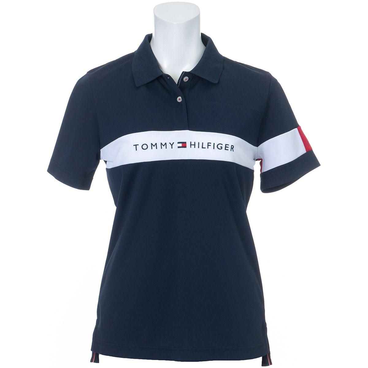 トミー ヒルフィガー ゴルフ TOMMY HILFIGER GOLF TOMMYロゴ 半袖ポロシャツ L ネイビー レディス