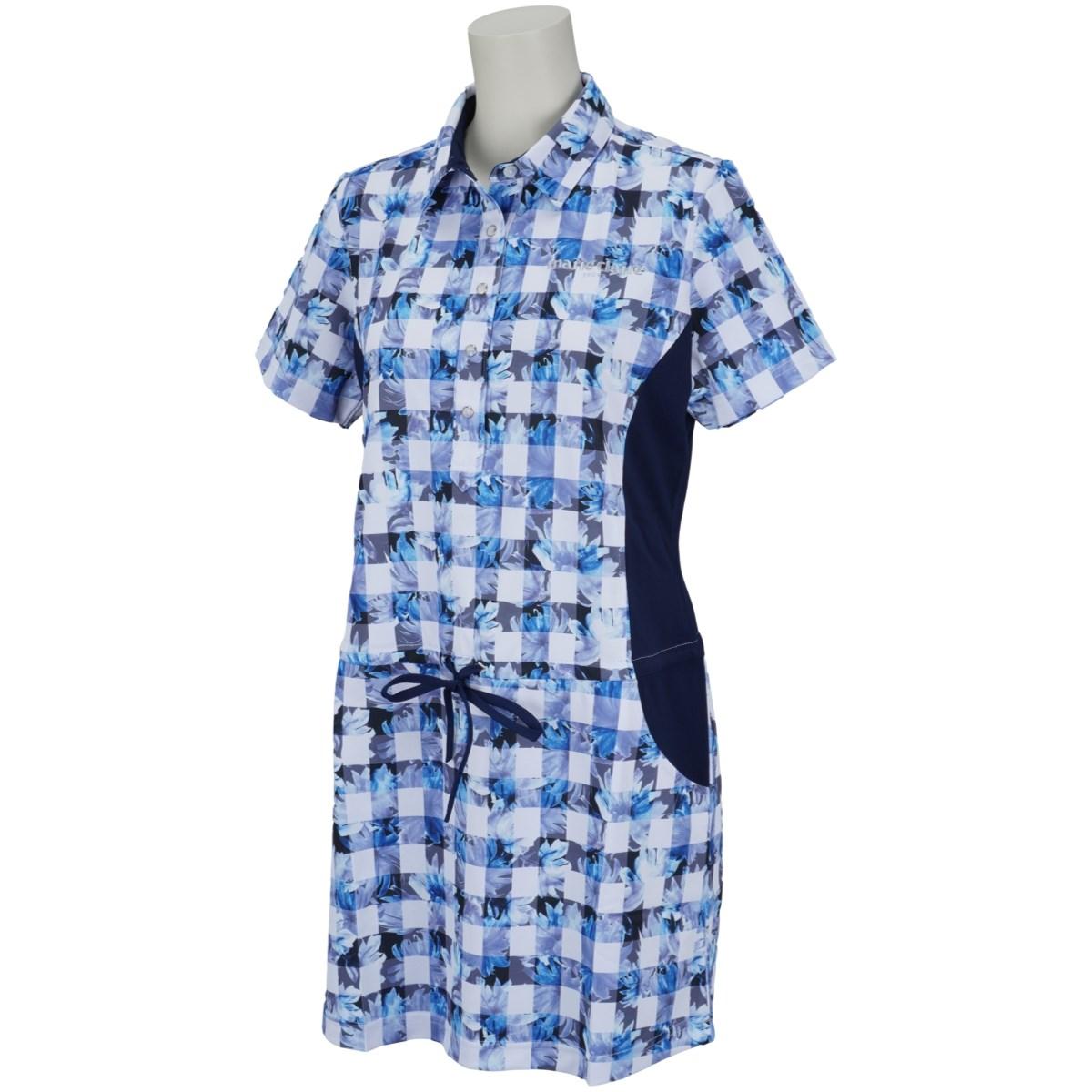 マリクレール marie claire 半袖チュニックシャツ M ネイビー レディス