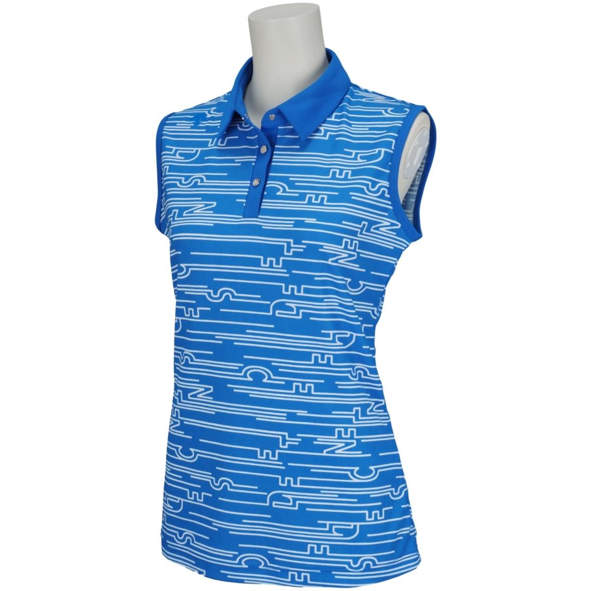 デサントゴルフ DESCENTE GOLF ECO 鹿の子MARINEプリントスリーブレスポロシャツ S ブルー 00 レディス