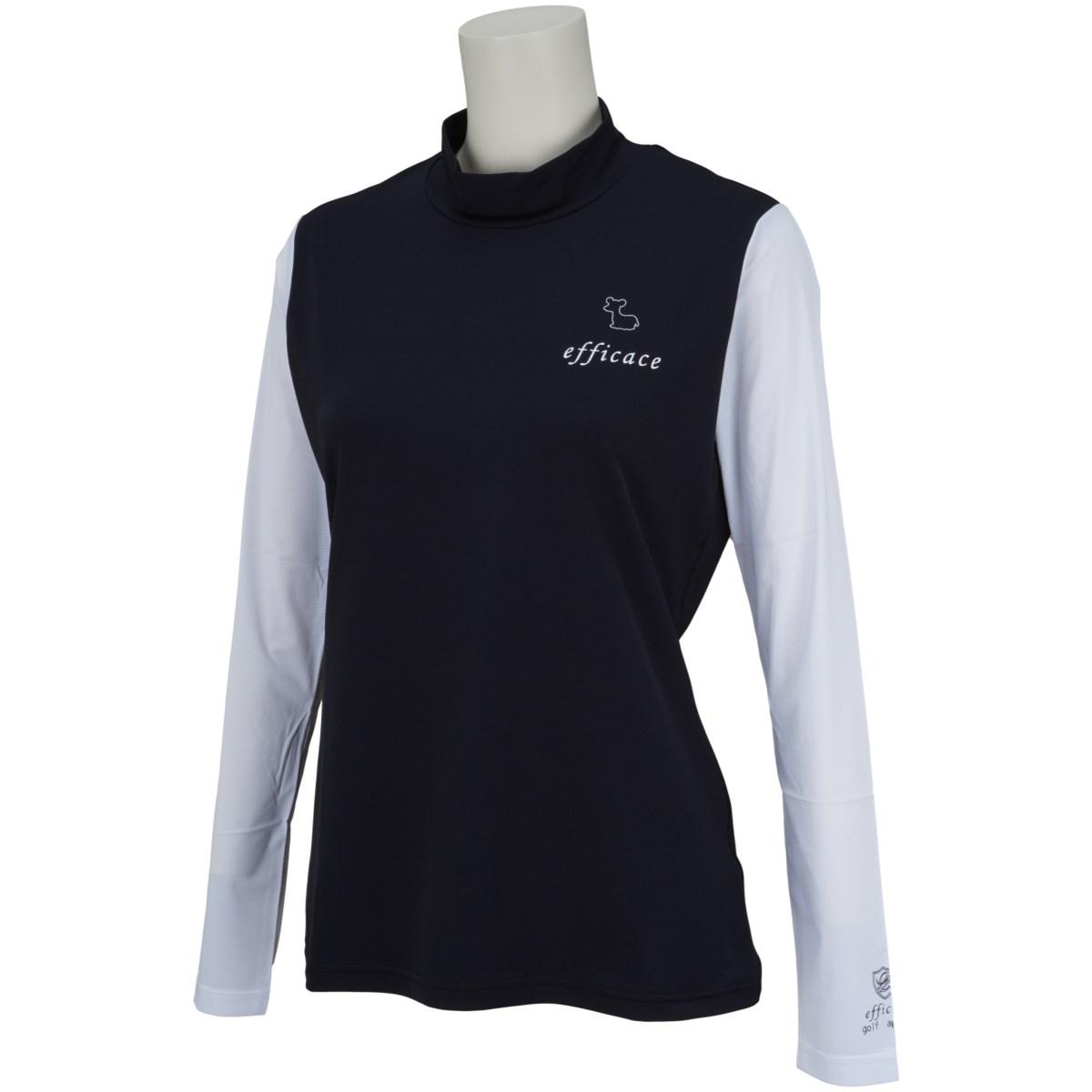 エフィカス efficace アイススキンスリーブモックネック 長袖インナーシャツ S ブラック/ホワイト レディス