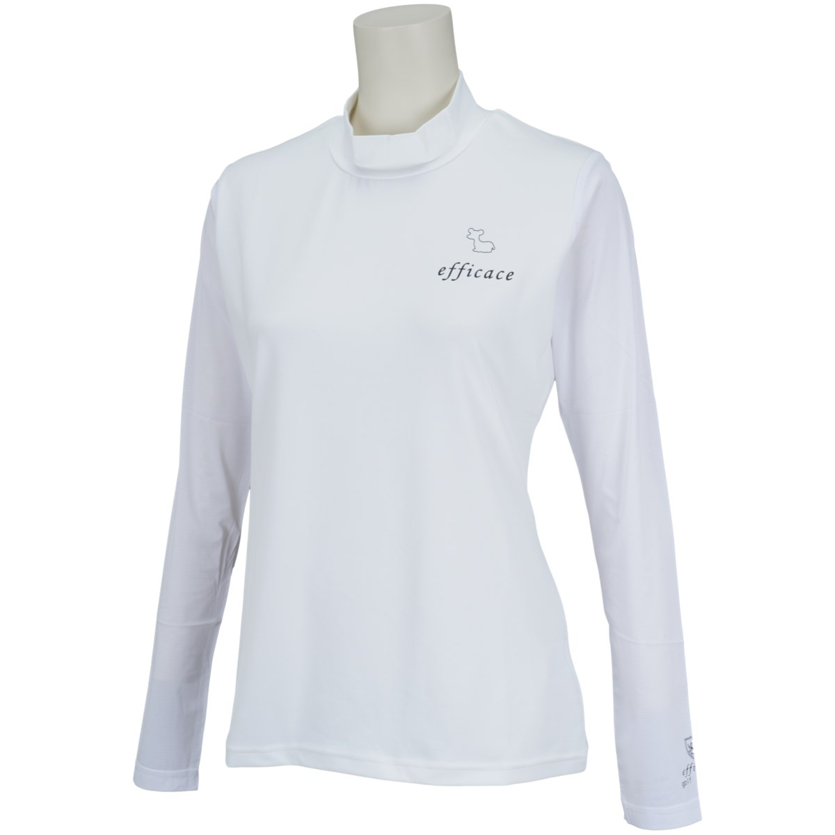 エフィカス efficace アイススキンスリーブモックネック 長袖インナーシャツ S ホワイト/ホワイト レディス