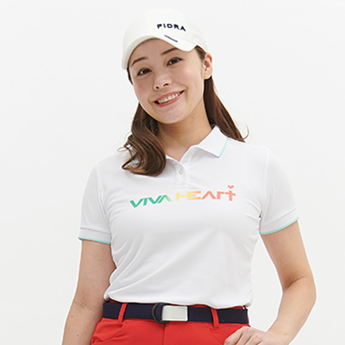 ビバハート VIVA HEART ロゴ鹿の子 半袖ポロシャツ 38(S) オフホワイト 005 レディス