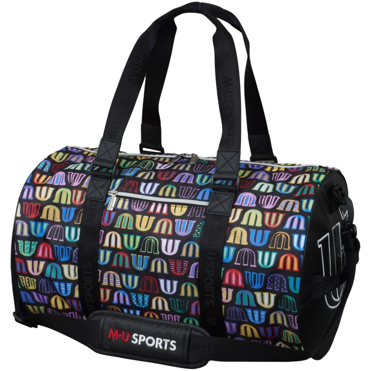 MUスポーツ M.U SPORTS ロゴ総柄ボストンバッグ ブラック