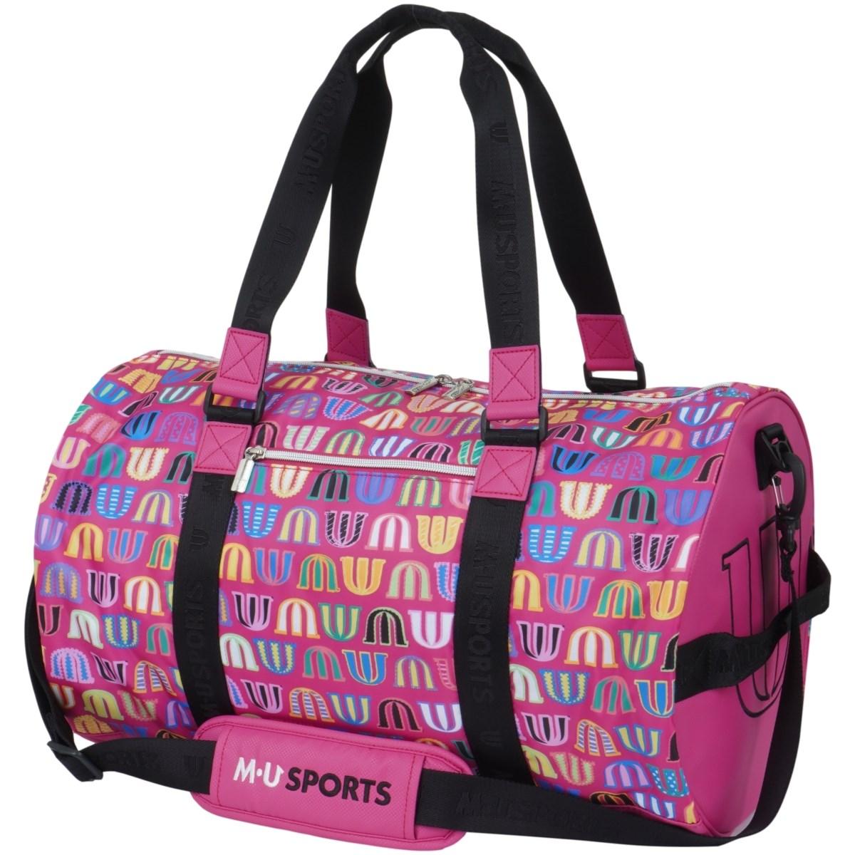 MUスポーツ M.U SPORTS ロゴ総柄ボストンバッグ ピンク