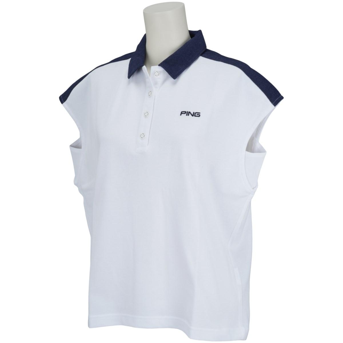 ピン PING 共襟半袖ポロシャツ M ホワイト 030 レディス