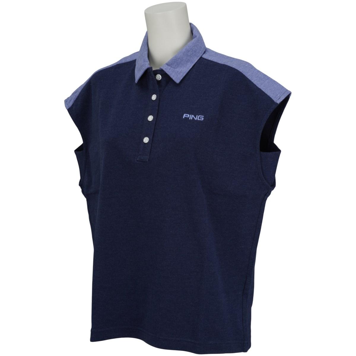 ピン PING 共襟半袖ポロシャツ S ネイビー 120 レディス
