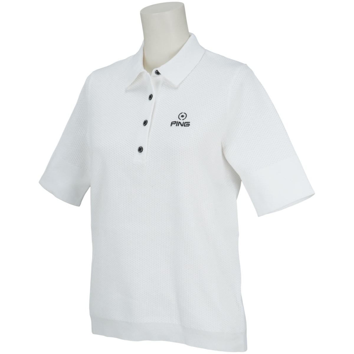 ピン PING ニット5分袖ポロシャツ S ホワイト 030 レディス