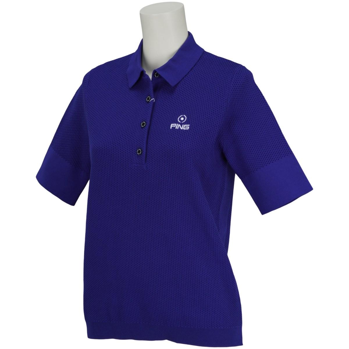 ピン PING ニット5分袖ポロシャツ M ブルー 110 レディス