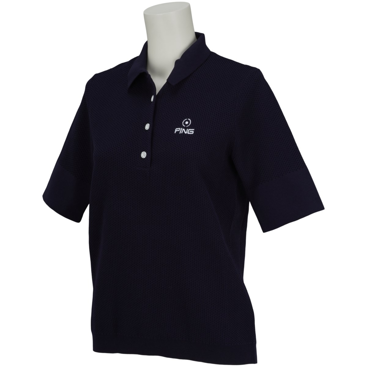 ピン PING ニット5分袖ポロシャツ S ネイビー 120 レディス