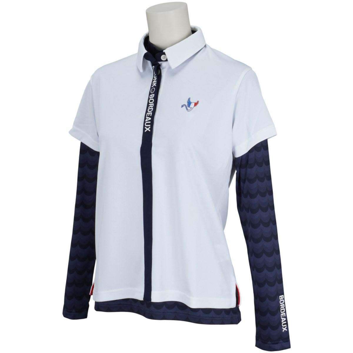 クランク Clunk インナー付き半袖ポロシャツ S ホワイト レディス