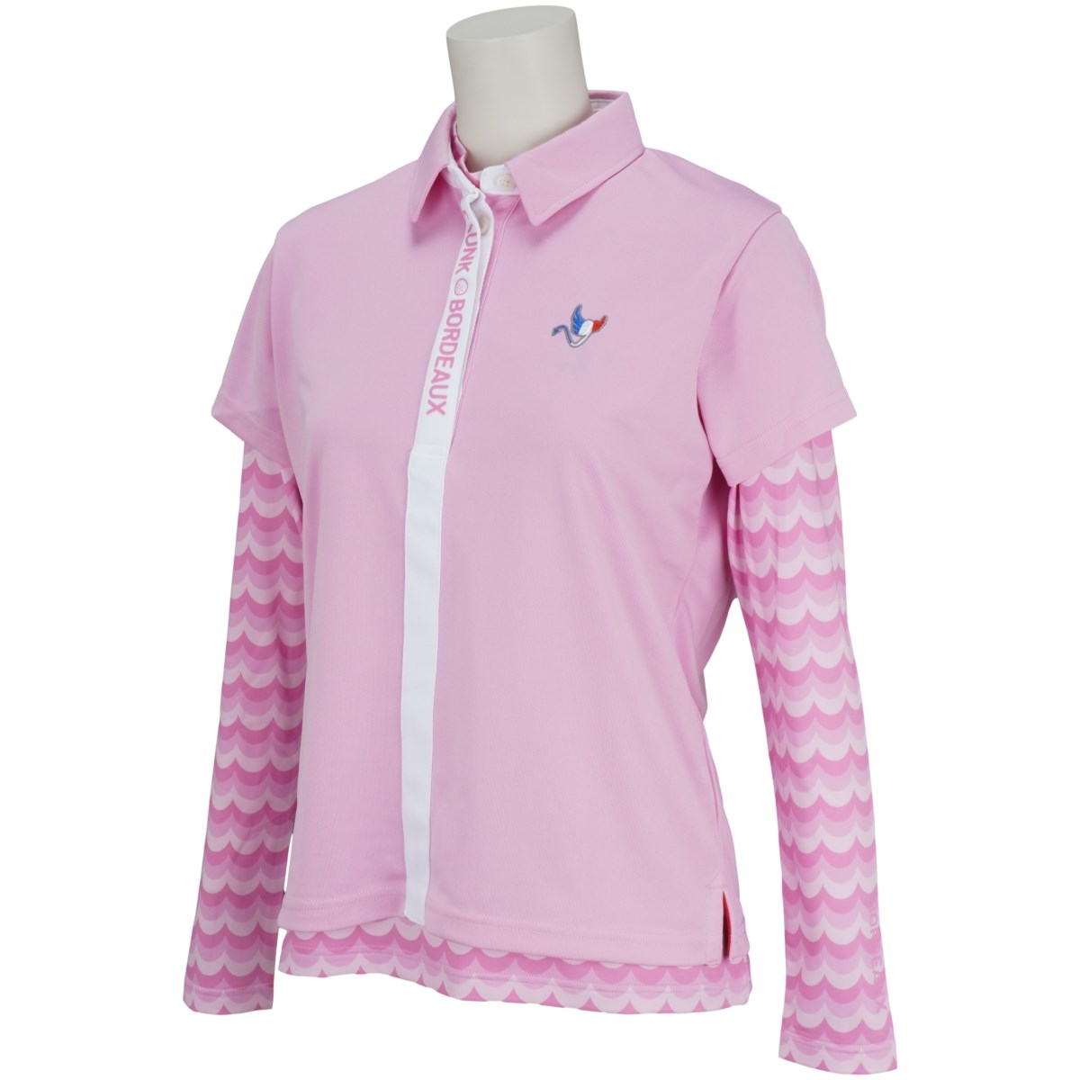 クランク Clunk インナー付き半袖ポロシャツ S ピンク レディス