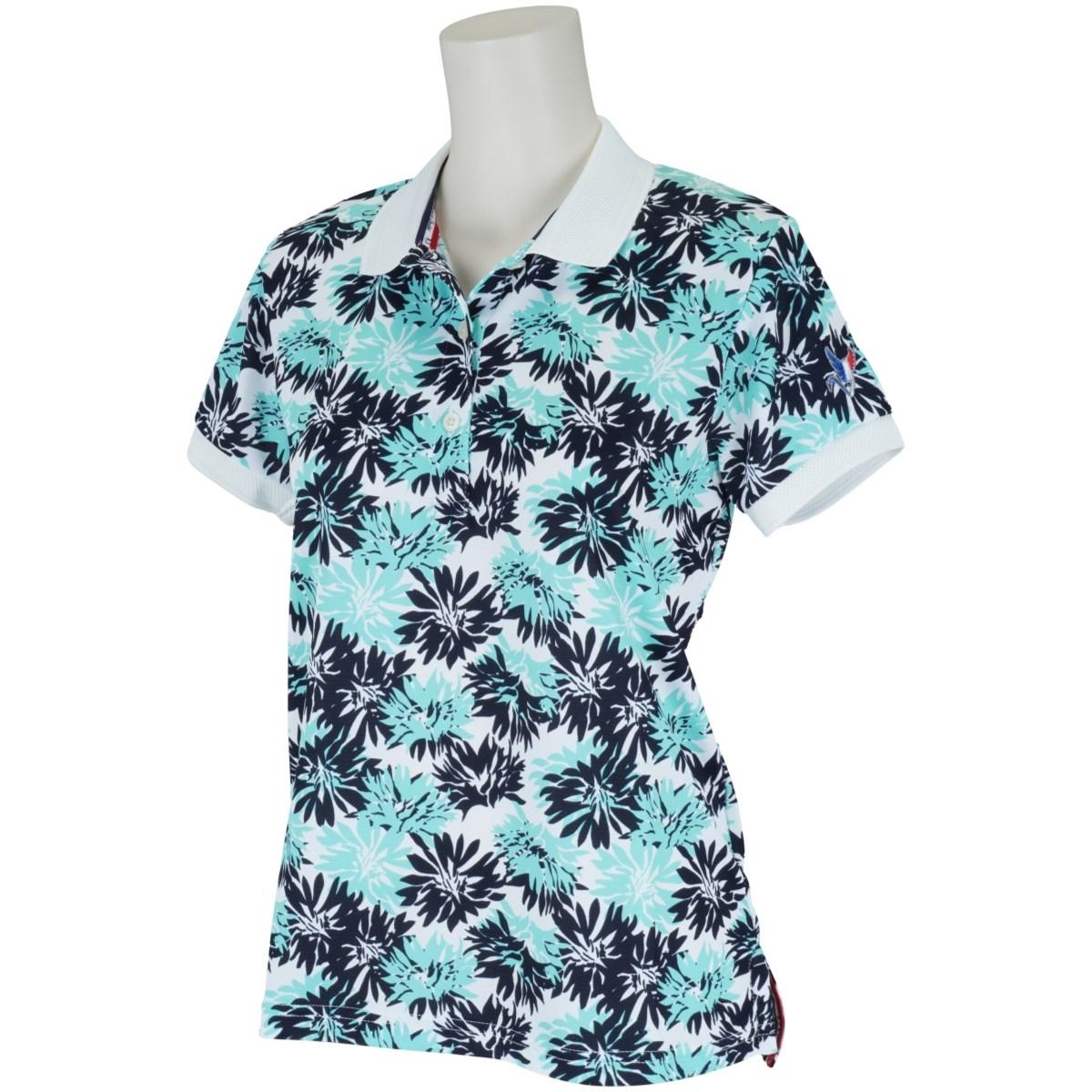 クランク Clunk 軽量 花柄半袖ポロシャツ L ターコイズグリーン レディス