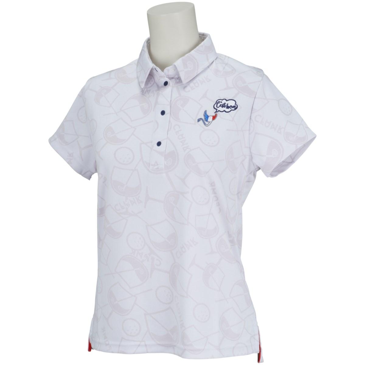 クランク Clunk カチオンジャガード半袖ポロシャツ S ホワイト レディス