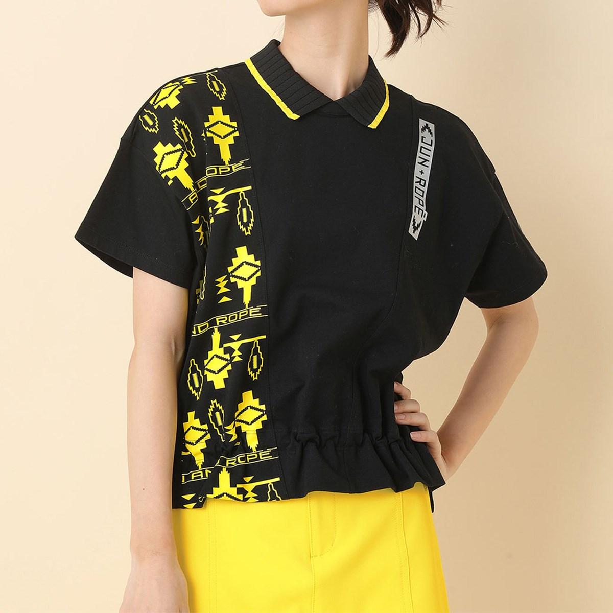 ジュン アンド ロペ JUN & ROPE UV ポロ衿ギャザリング半袖プルオーバー S ブラック 01 レディス