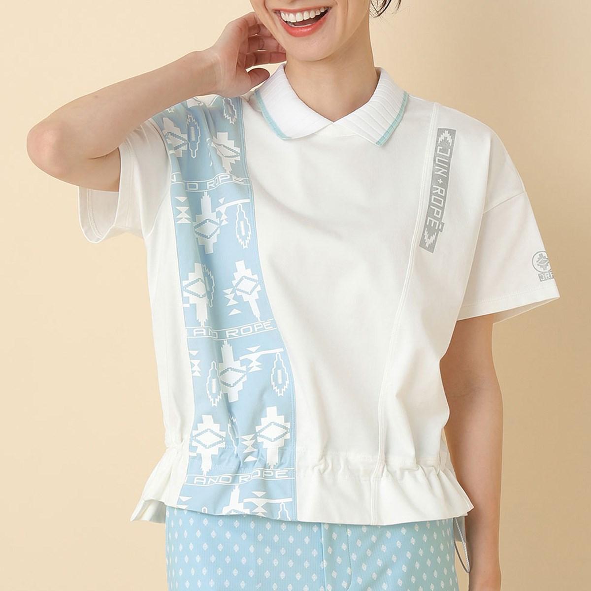 ジュン アンド ロペ JUN & ROPE UV ポロ衿ギャザリング半袖プルオーバー S ホワイト 10 レディス
