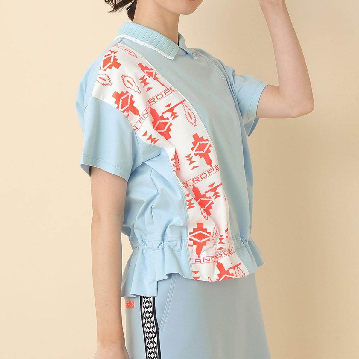 ジュン アンド ロペ JUN & ROPE UV ポロ衿ギャザリング半袖プルオーバー S サックス 48 レディス