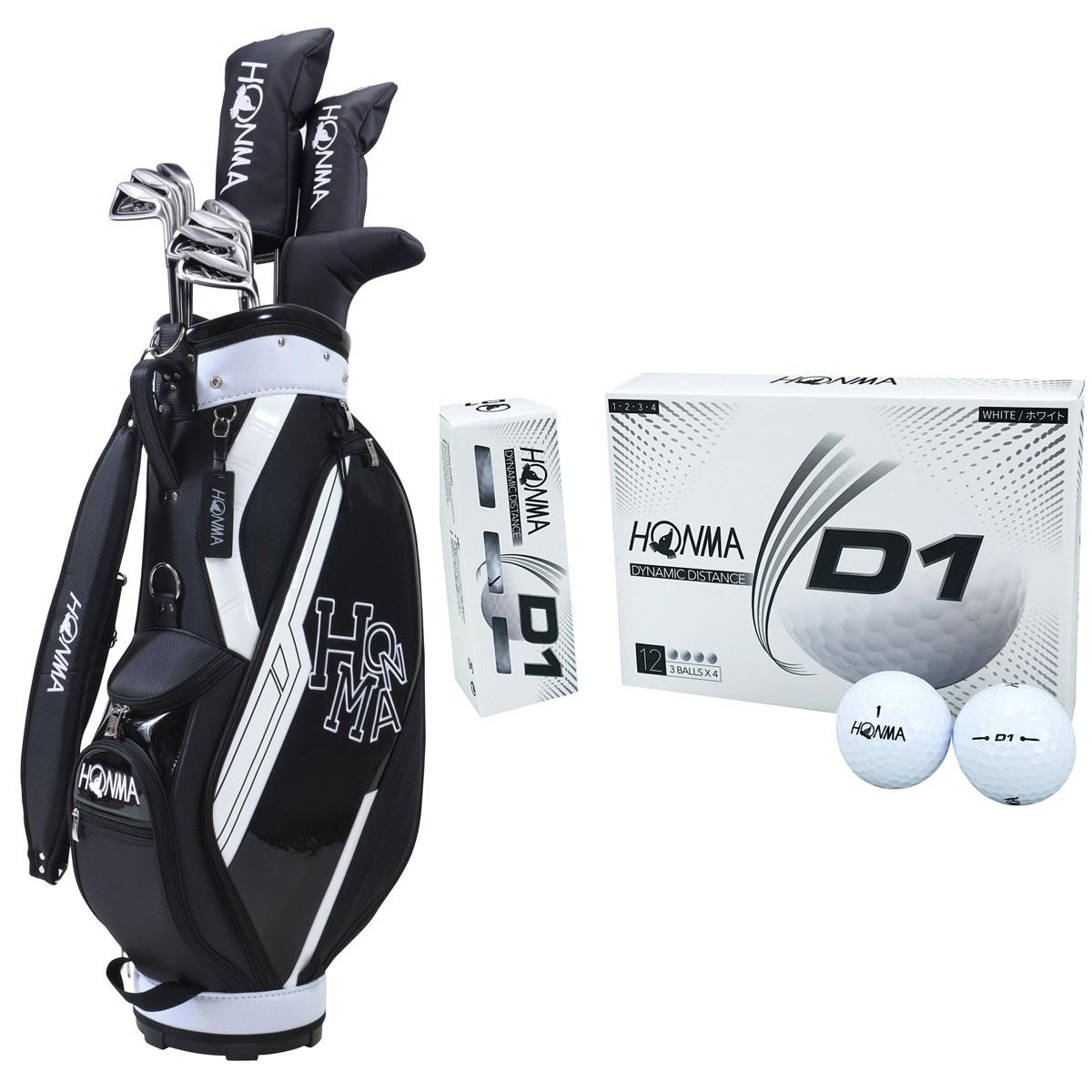 本間ゴルフ HONMA D1 オールインワンセット(10本セット)+ボール1ダースセット S 【クラブセット】ブラック/【ボール】ホワイト