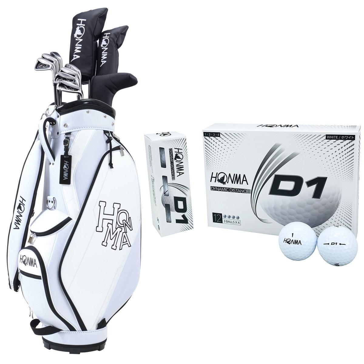 本間ゴルフ HONMA D1 オールインワンセット(10本セット)+ボール1ダースセット S 【クラブセット】ホワイト/【ボール】ホワイト