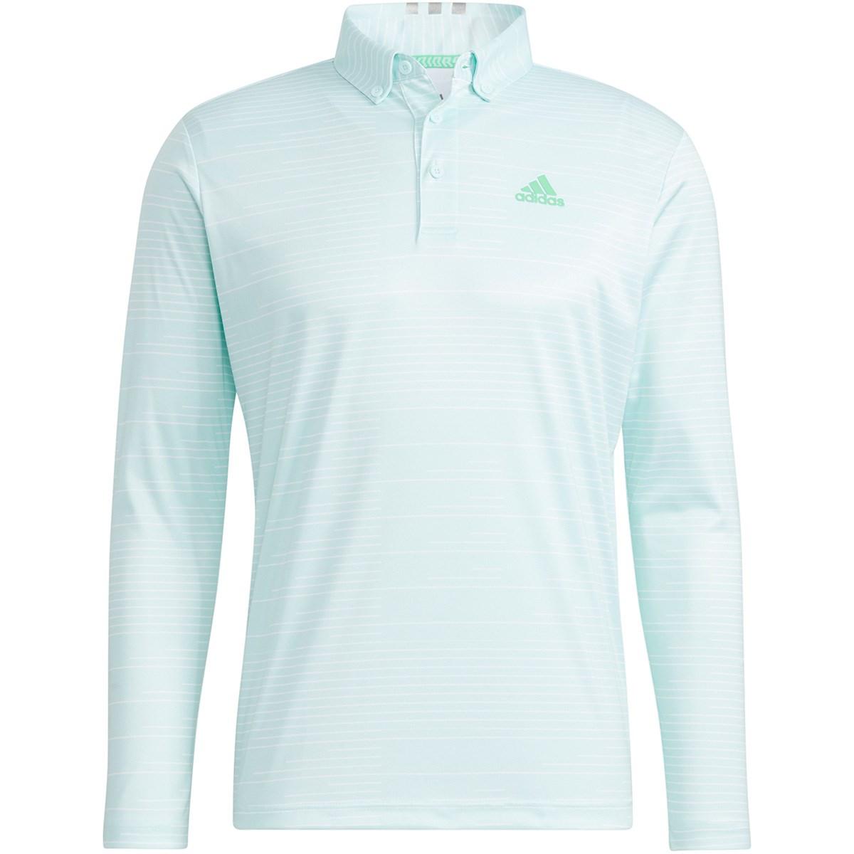 アディダス Adidas PRIMEGREEN グラフィックプリント 長袖ボタンダウンポロシャツ J/S ヘイローミント