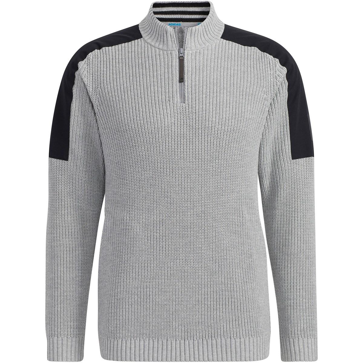 アディダス Adidas ショルダーパッチ ハーフジップ長袖ローゲージセーター J/M ミディアムグレーヘザー