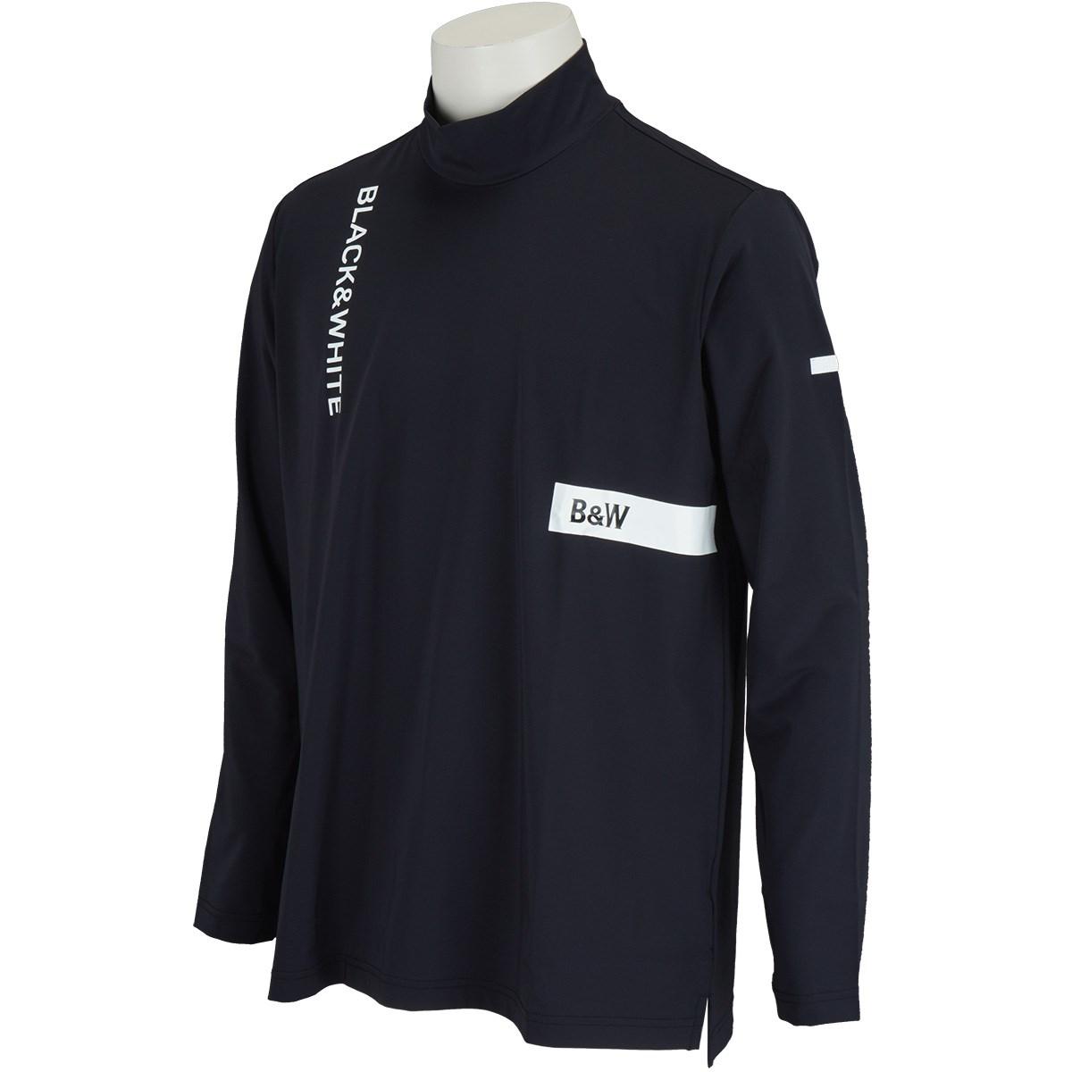 ブラック&ホワイト Black&White WHITE Line ストレッチ ロゴモックネック長袖シャツ M ブラック
