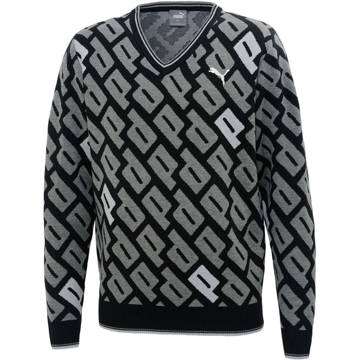 プーマ PUMA グラフィックVネックセーター M プーマ ブラック 01