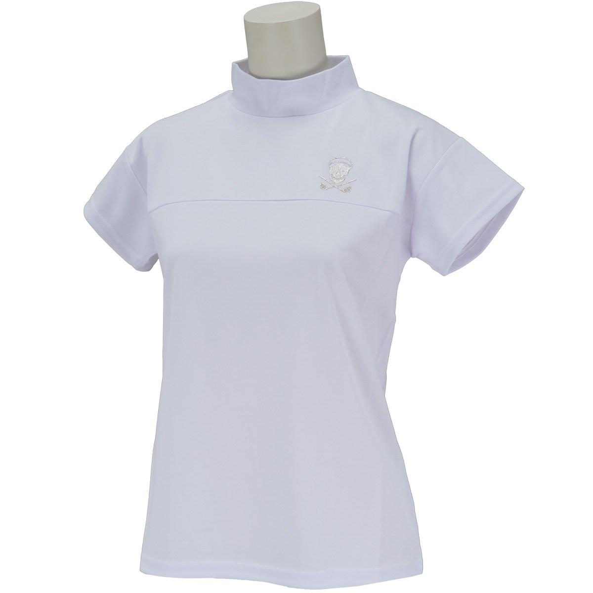 デルソルゴルフ DELSOL GOLF スカル切り替え半袖ハイネックシャツ M ホワイト レディス