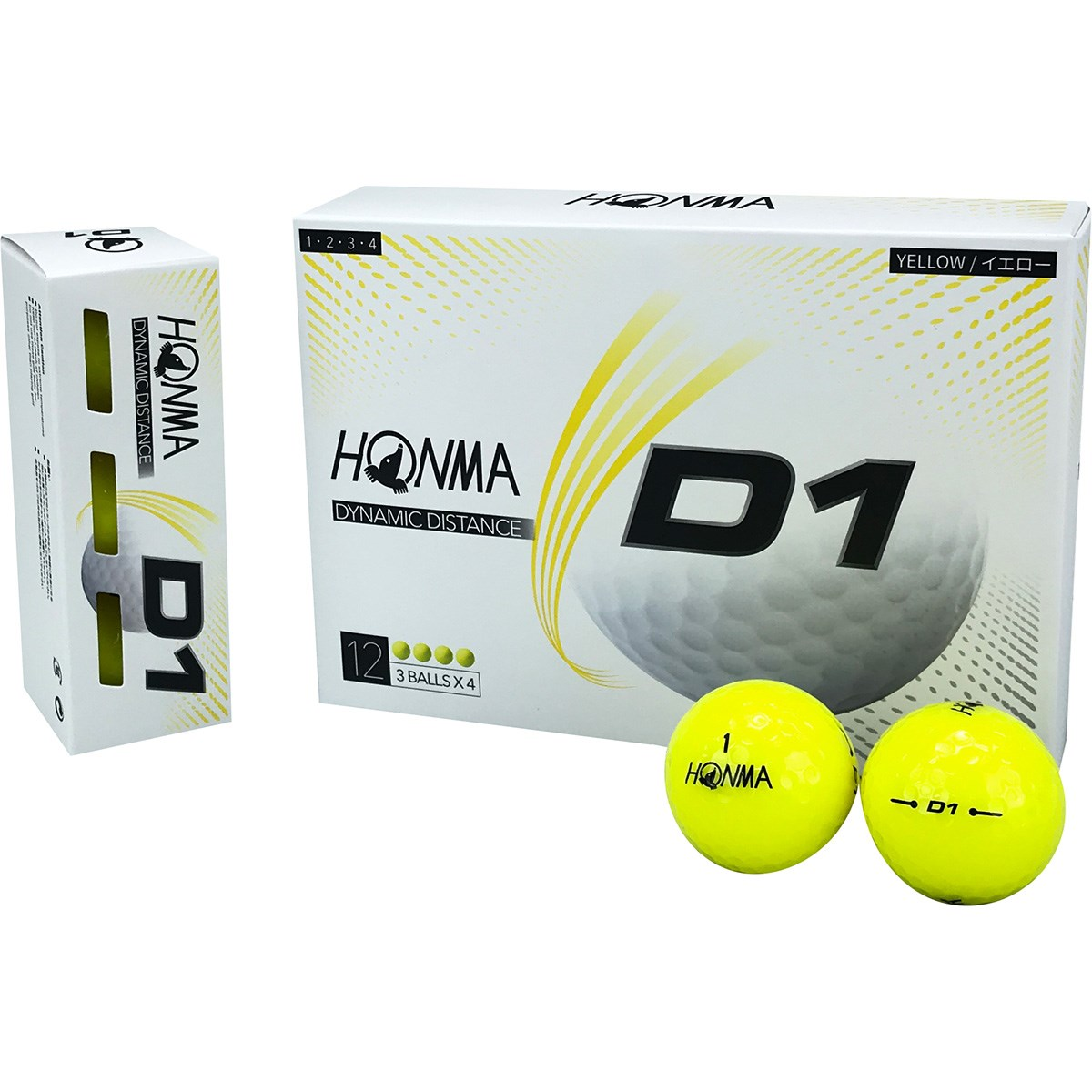 本間ゴルフ HONMA D1 ボール 2020年モデル 5ダースセット 5ダース(60個入り) イエロー