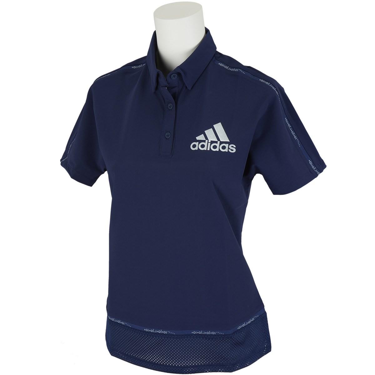 アディダス Adidas ラインド半袖ポロシャツ J/S カレッジネイビー レディス