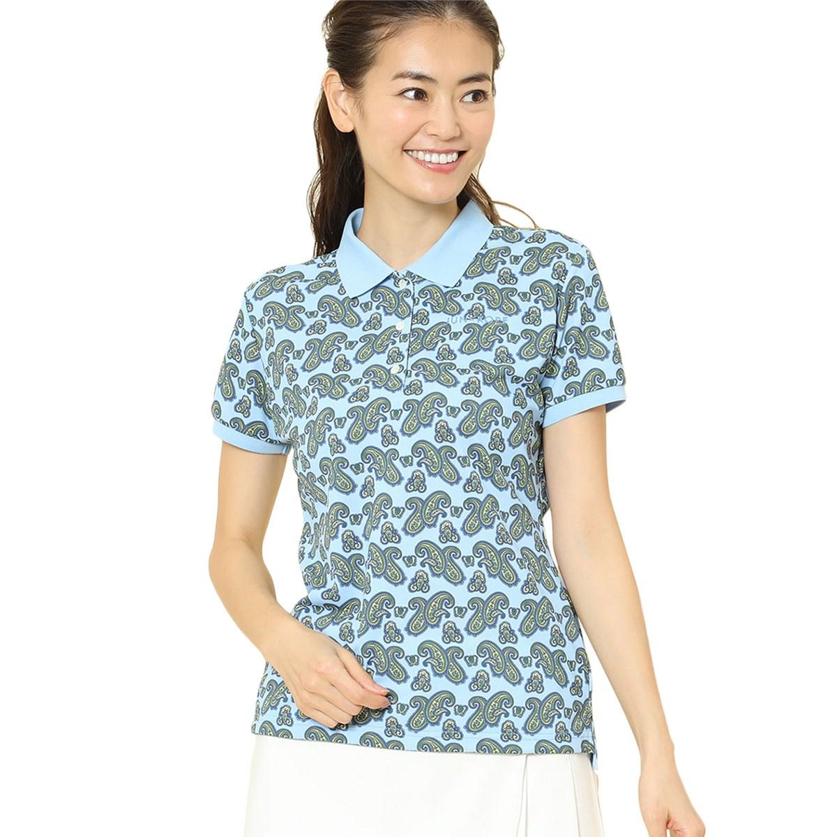 ジュン アンド ロペ JUN & ROPE ペイズリー柄プリント半袖ポロシャツ S ブルー 48 レディス