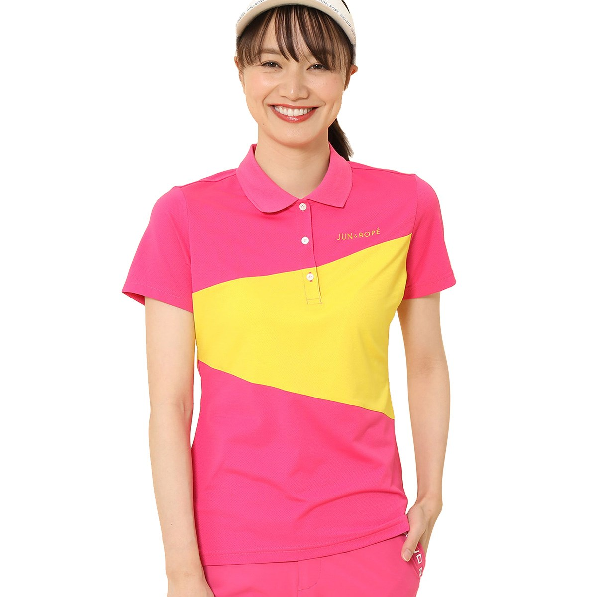 ジュン アンド ロペ JUN & ROPE カラーブロック 半袖ポロシャツ S ピンク 63 レディス