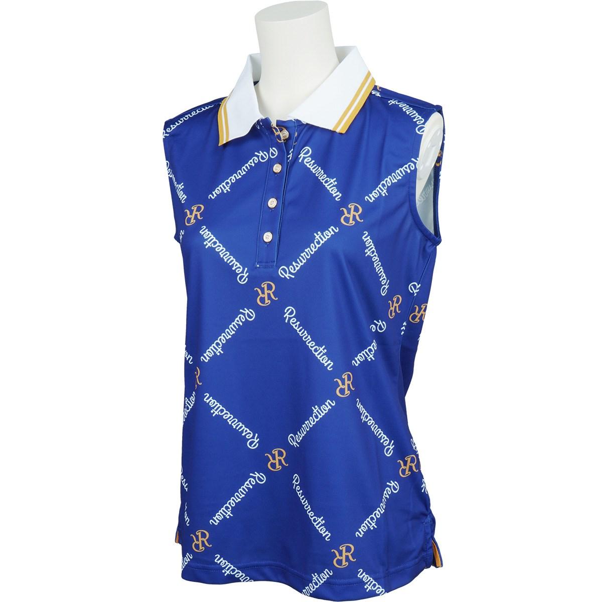 レザレクション Resurrection ダイヤモンドパターン ノースリーブポロシャツ S ネイビー レディス